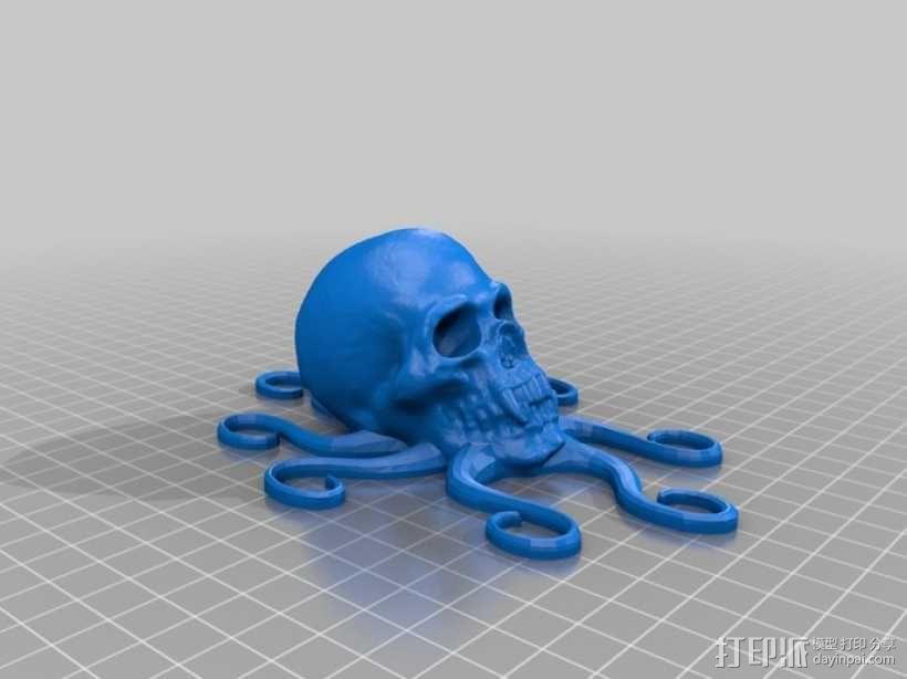 骷髅头 章鱼触角 3D模型  图2