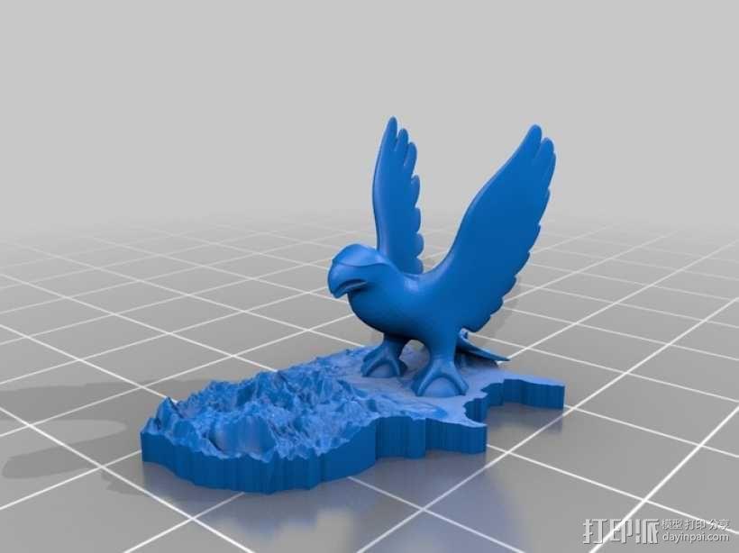 美国地形图 老鹰 3D模型  图1