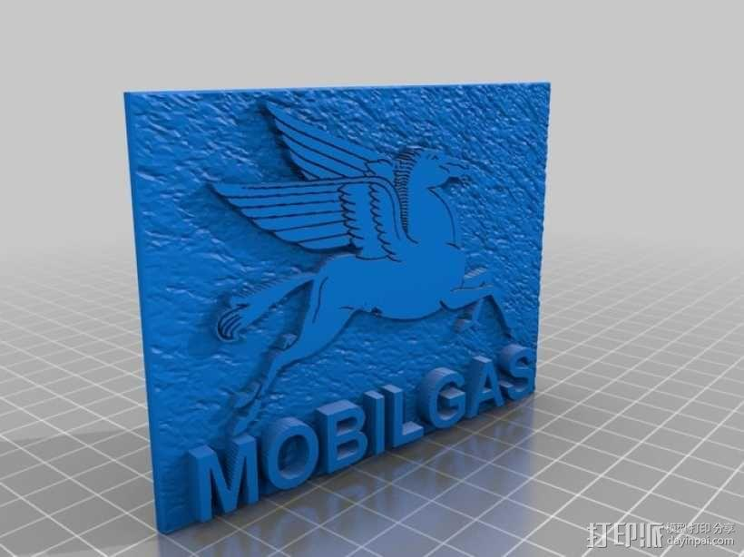 美孚润滑油 标志 3D模型  图1