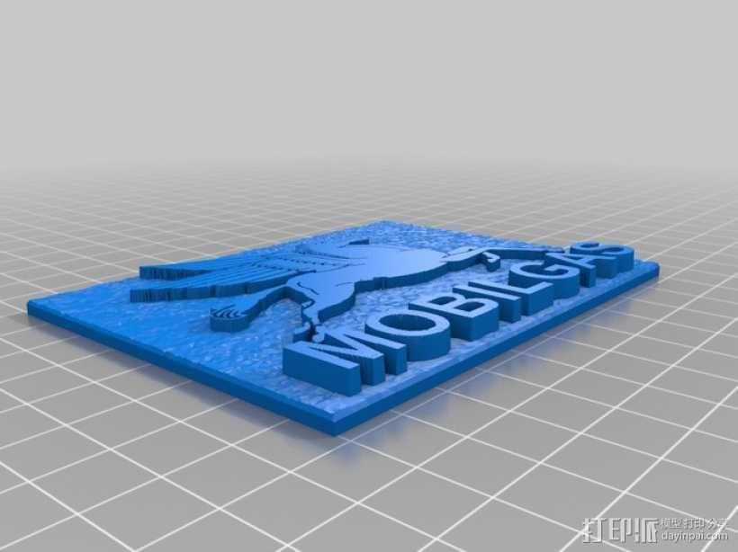 美孚润滑油 标志 3D模型  图2