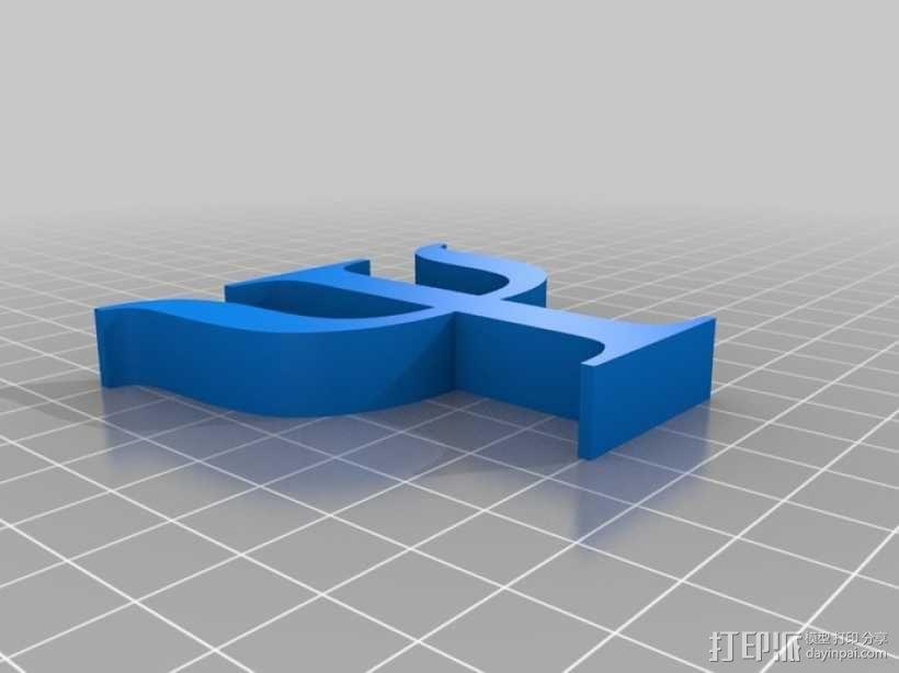 希腊字母 Psi 3D模型  图1