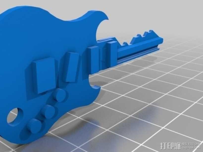 键盘吉他  3D模型  图1