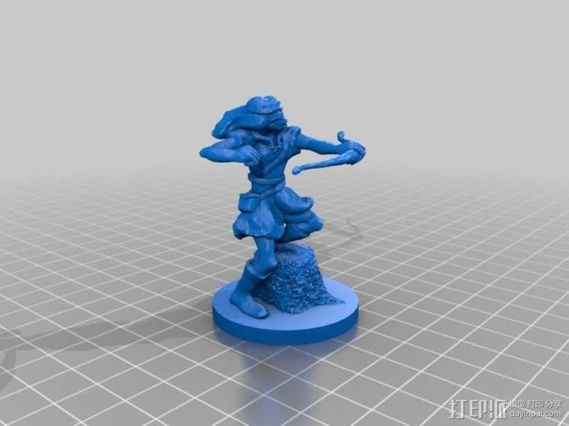 女弓箭手 3D模型  图1