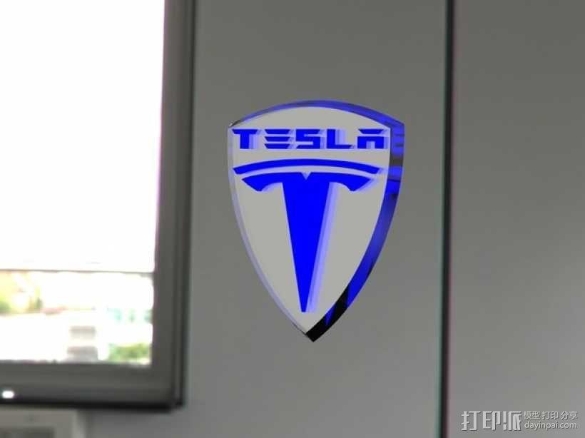 特斯拉汽车 标志 3D模型  图2