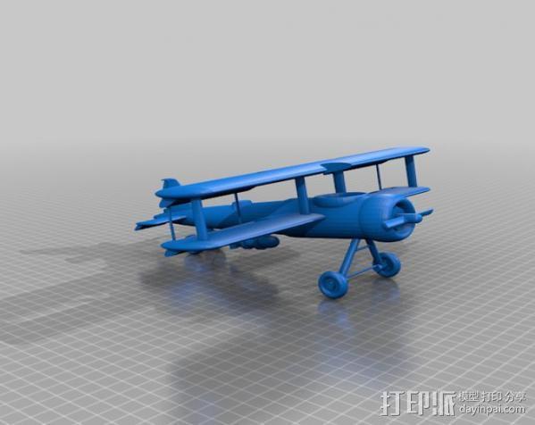 双翼飞机 3D模型  图1