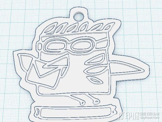 热带鱼 徽章 3D模型  图3