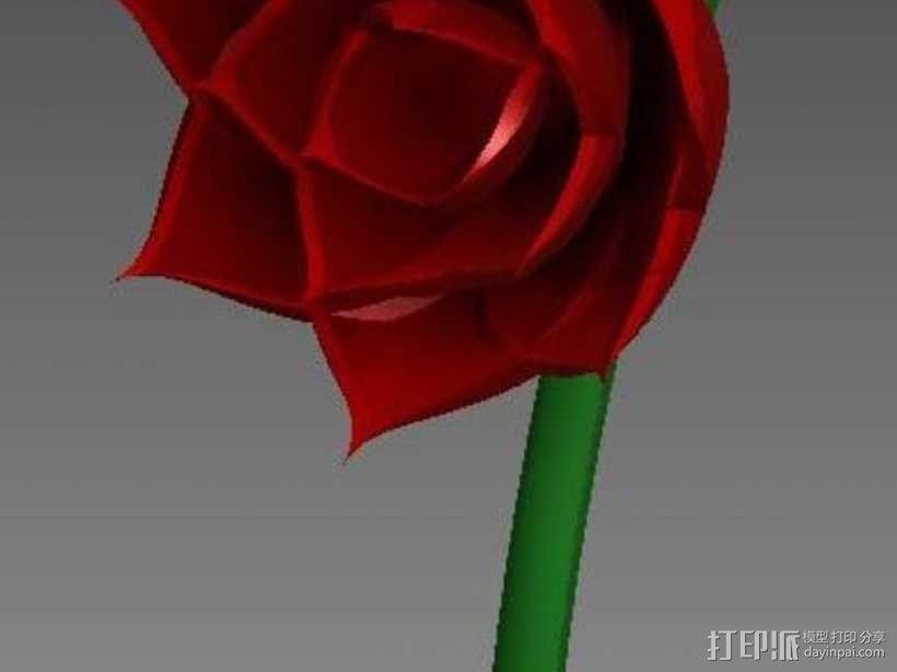 玫瑰花 花朵 3D模型  图1
