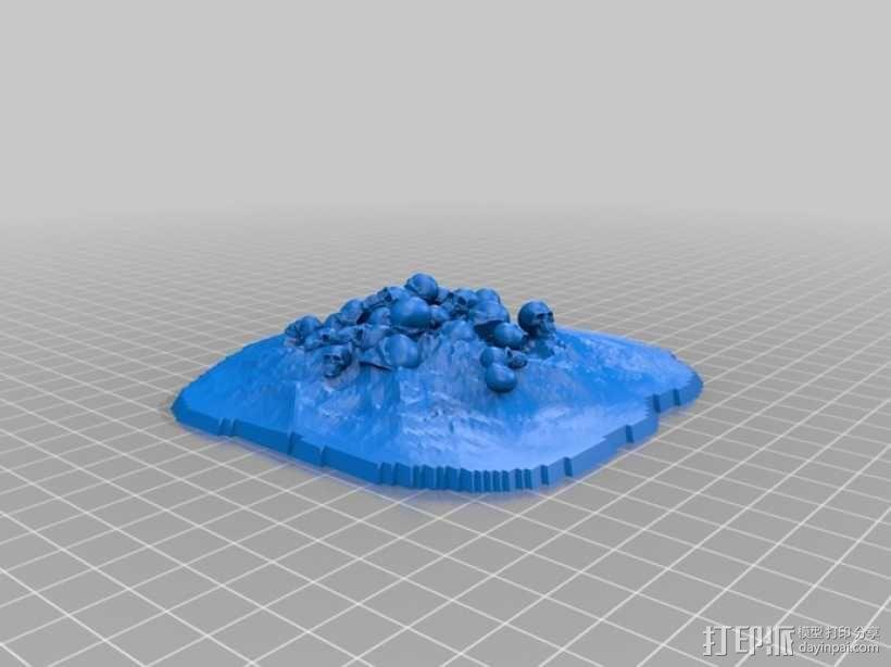 骷髅堆 万圣节装饰 3D模型  图1