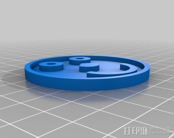 笑脸符徽章 3D模型  图1