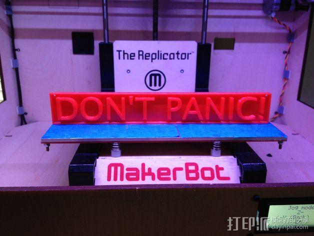 Don't Panic标语板 标签 3D模型  图3