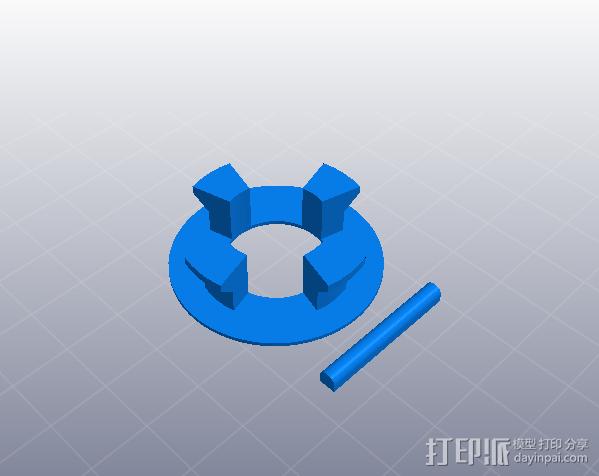 橡皮筋动力车 3D模型  图3