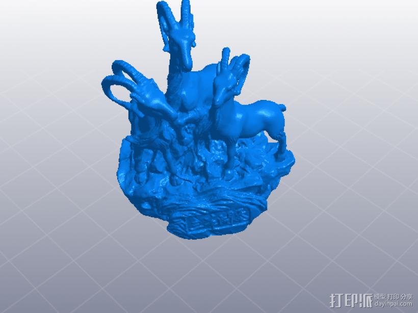 羊年 三羊开泰 3D模型  图1