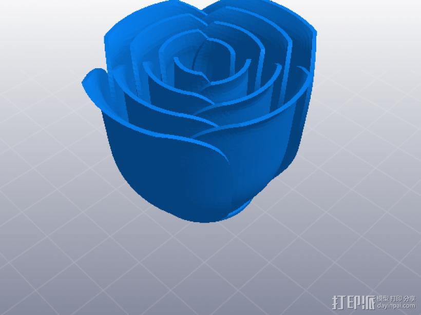 玫瑰花 花枝 花瓣 3D模型  图1