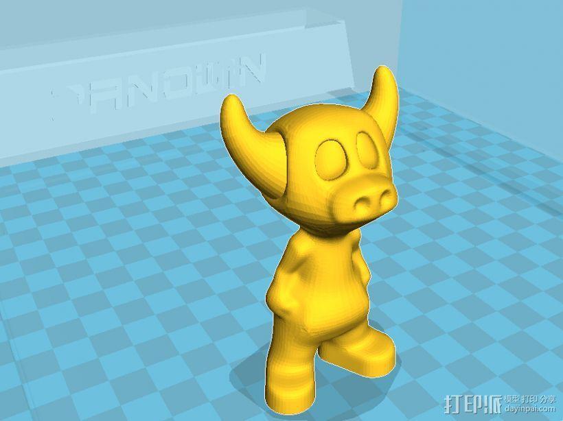 小牛牛牛魔王可爱版金牛座3D打印模型磐纹出品 3D模型  图2