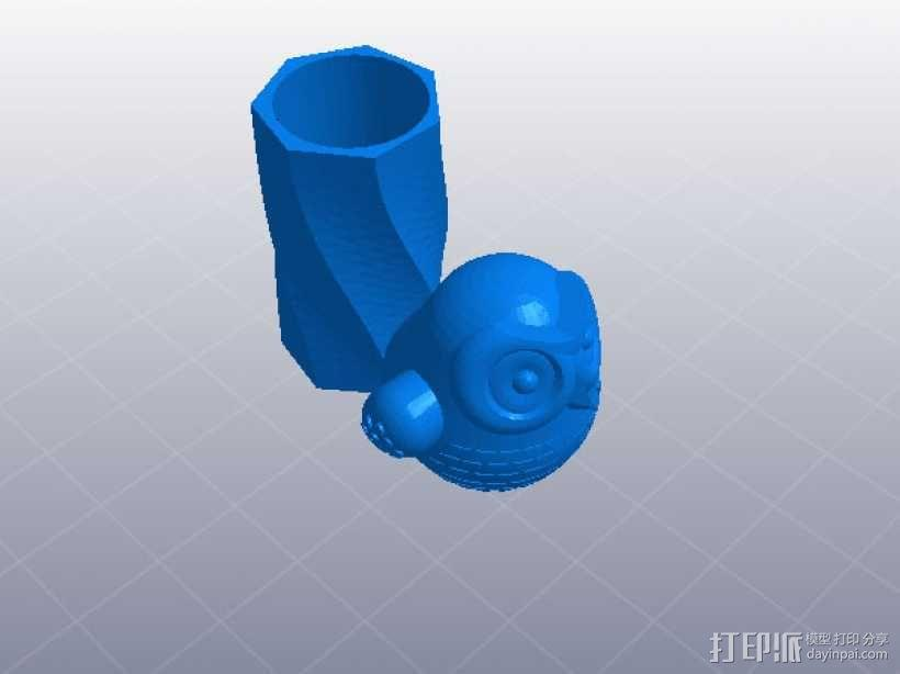 猫头鹰笔筒 3D模型  图1