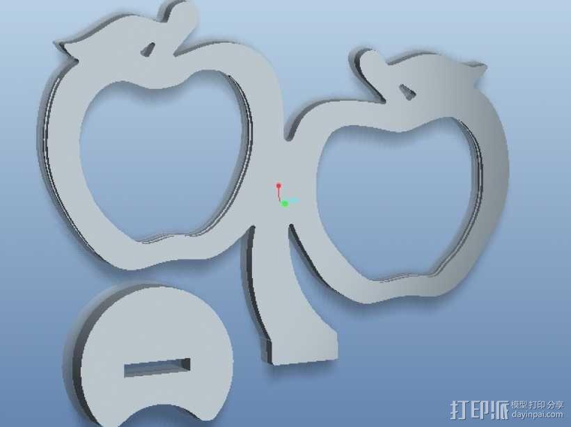 双苹果相框 3D模型  图1