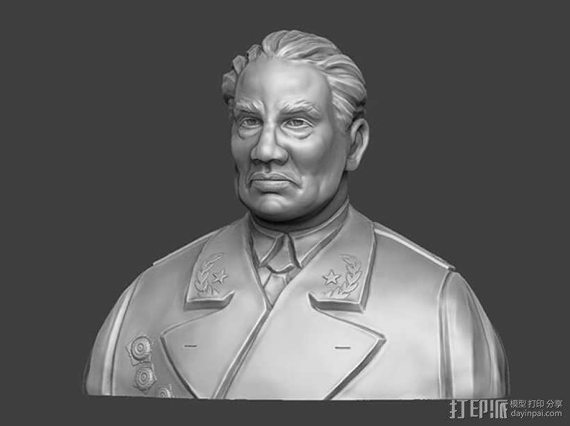 十大元帅 之 朱德 半身雕塑 脱帽 3D模型  图1
