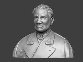十大元帅 之 朱德 半身雕塑 脱帽 3D模型
