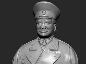 十大元帅 之 彭德怀 半身雕塑 3D模型