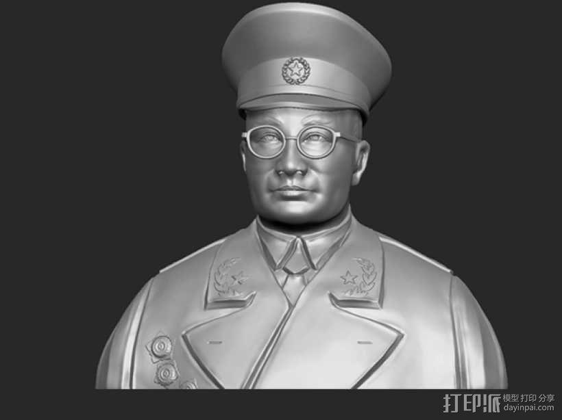 十大元帅 之 刘伯承 半身雕塑 3D模型  图1