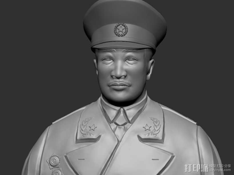 十大元帅 之 贺龙 半身雕塑 3D模型  图1