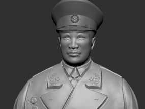 十大元帅 之 贺龙 半身雕塑 3D模型