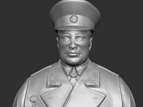 十大元帅 之 陈毅 半身雕塑 3D模型