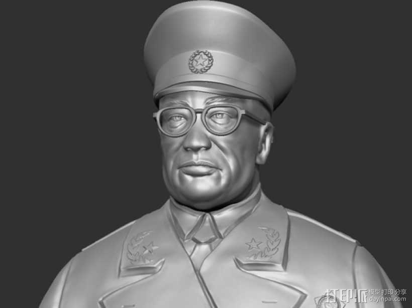 十大元帅 之 罗荣桓 半身雕塑 3D模型  图1