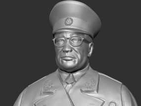 十大元帅 之 罗荣桓 半身雕塑 3D模型