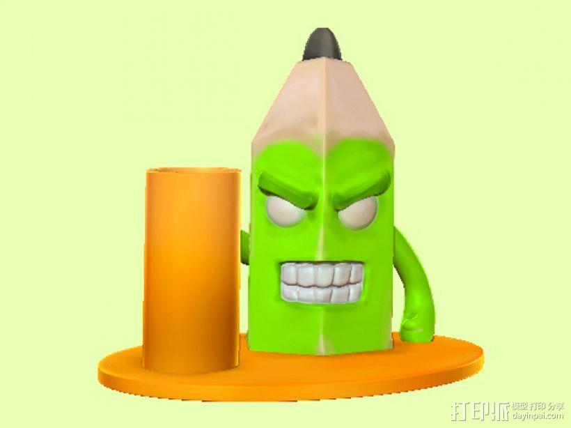 愤怒的铅笔头-笔筒 3D模型  图4