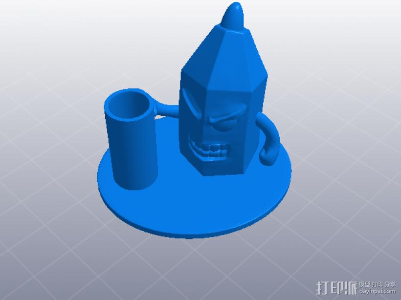 愤怒的铅笔头-笔筒 3D模型  图6