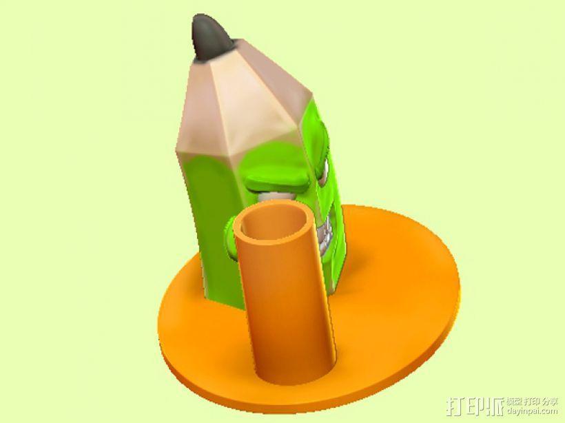 愤怒的铅笔头-笔筒 3D模型  图3
