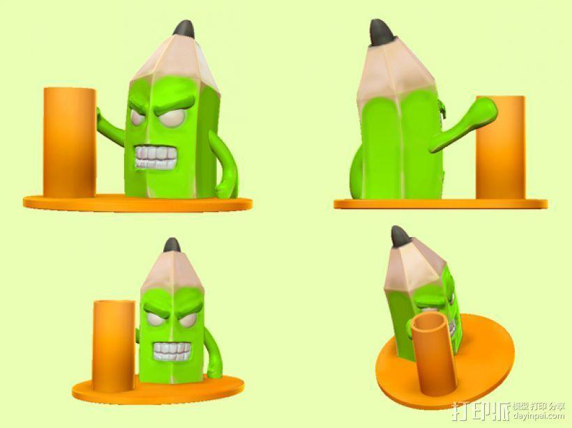 愤怒的铅笔头-笔筒 3D模型  图5