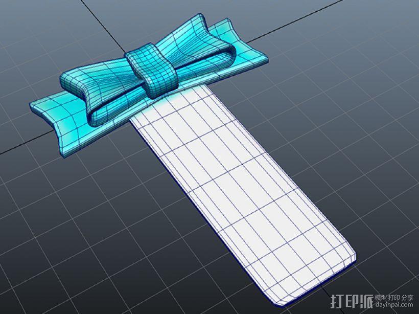 蝴蝶结书签 3D模型  图2