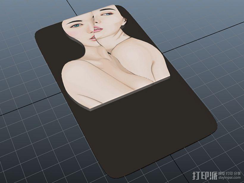 双面女书签 3D模型  图5