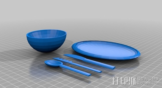 完整晚餐用具 3D模型  图1