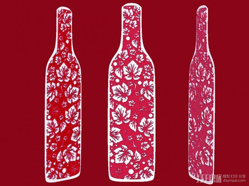 花纹酒瓶书签 3D模型  图1