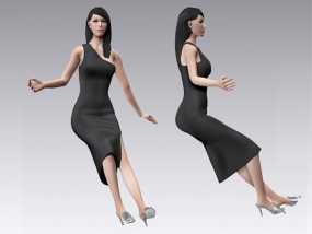 跑车美女模特 3D模型