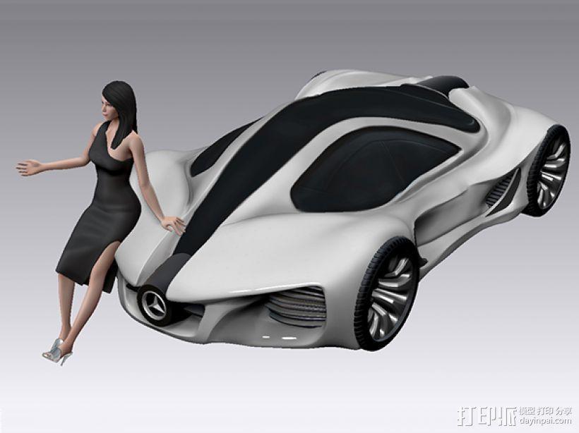 跑车美女模特 3D模型  图5