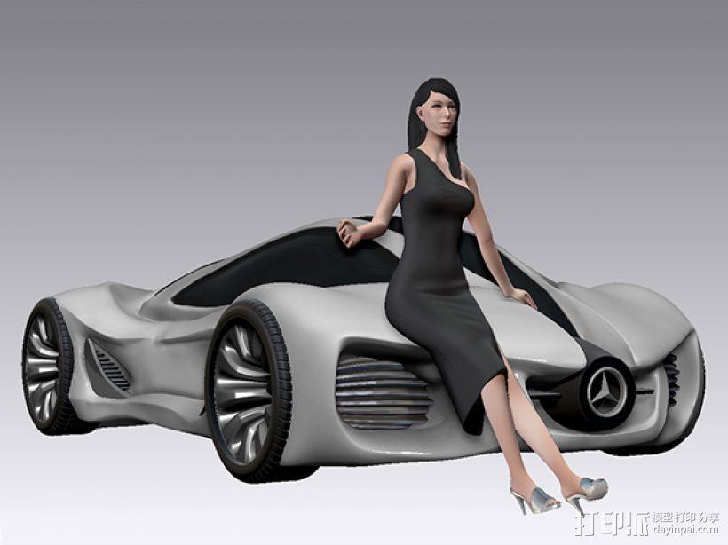 跑车美女模特 3D模型  图4