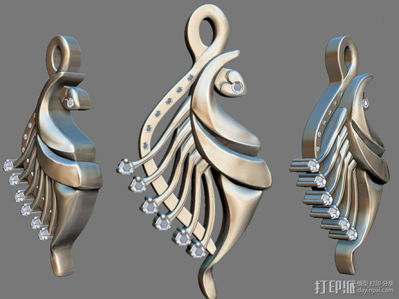 飞鱼吊坠模型 3D模型  图1