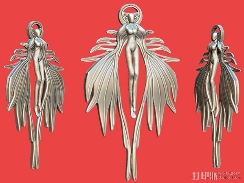 天使吊坠 3D模型  图1