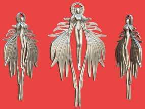 天使吊坠 3D模型