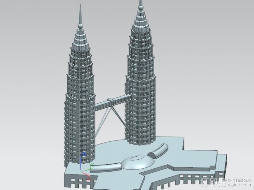 马来西亚双子塔 3D模型  图1