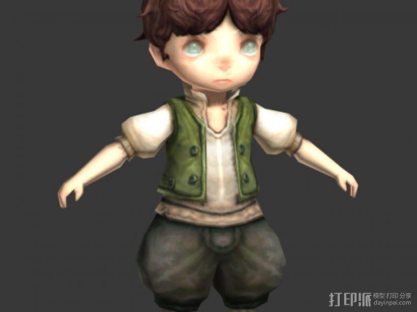 卡通小男孩 3D模型  图1