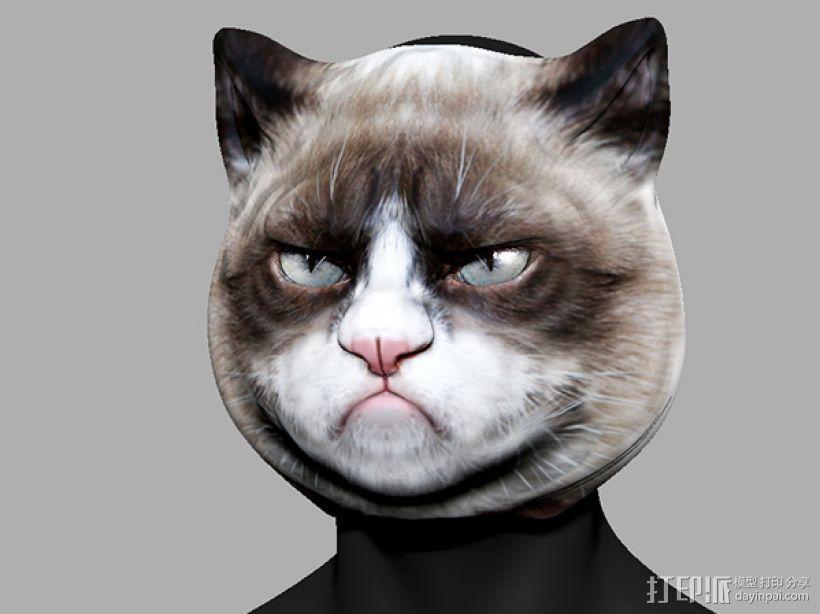 愤怒猫面具 3D模型  图1