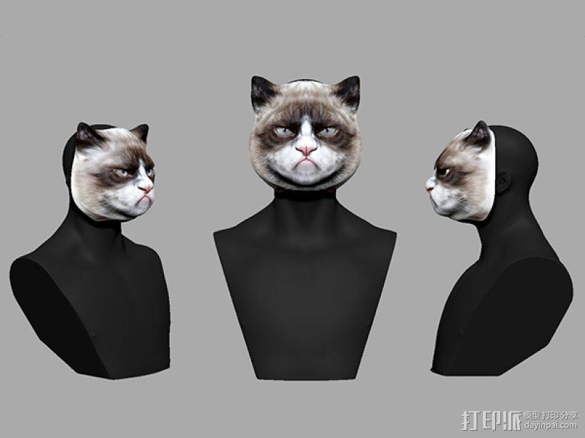 愤怒猫面具 3D模型  图2