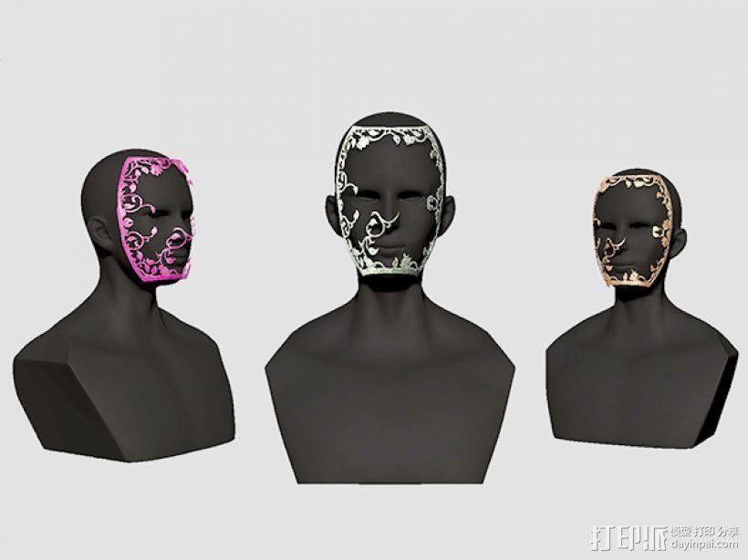 镂空花纹面具。 3D模型  图3