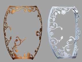 镂空花纹面具。 3D模型