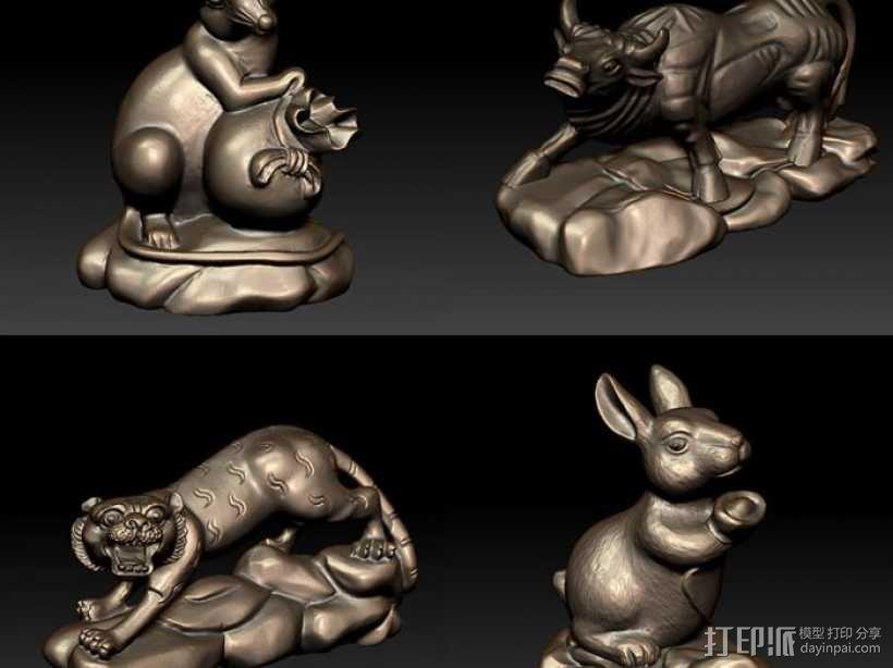 十二生肖 鼠 3D模型  图1